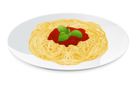 spaghetti: Vector illustration of spaghetti bolognese with tomato sauce  Italian pasta