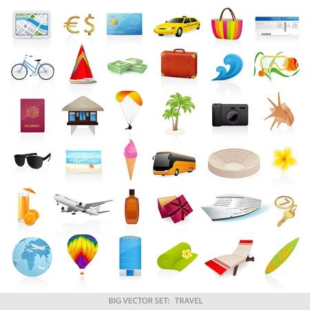 travel icon: Big vector set reizen iconen - gedetailleerde illustraties