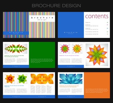 magazine page: Template of brochure design with lines and abstract flowers