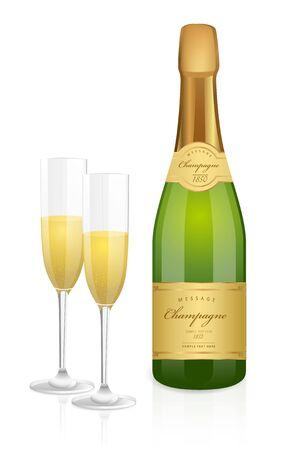bollicine champagne: Bottiglia di champagne e due bicchieri