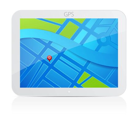 gps navigator: GPS navigator. Vector Illustration of tablet with map