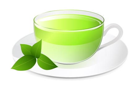 tea leaf: Traditional green tea Illustration