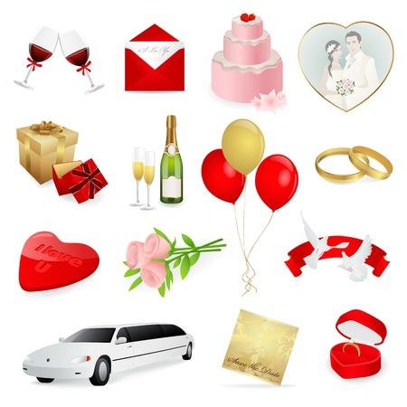 pink wedding: love and wedding icons set