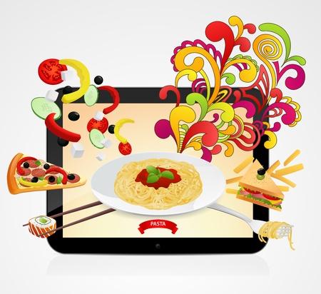 bolognese: Order meal by internet Illustration