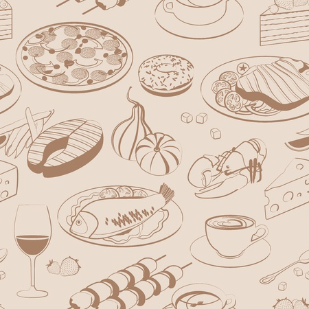 soup and salad: Seamless pattern of food