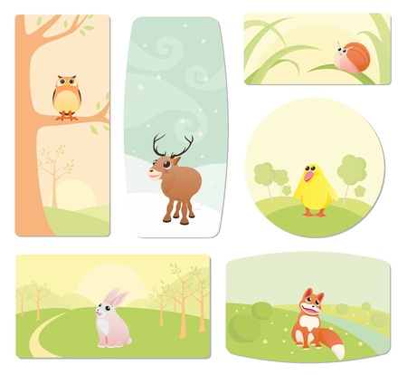 Baby labels with cartoon animals Vector