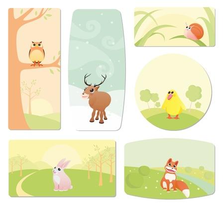 illustration zoo: Etichette per bambini con gli animali dei cartoni animati Vettoriali