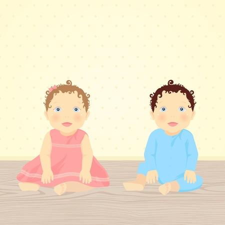 Hermano y hermana. Ilustración vectorial de los bebés (gemelos)