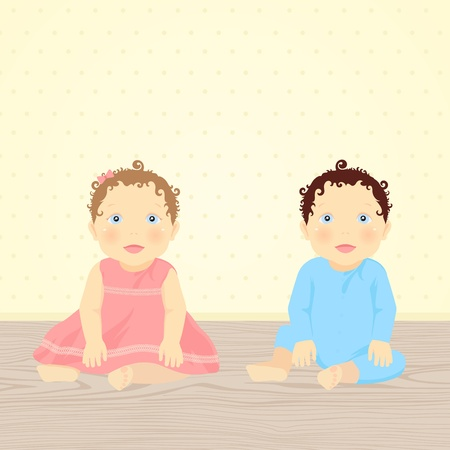 sitting on floor: Brother and Sister. Vector illustration of babies (twins)