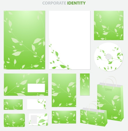 Business style templates with leafs. Vector Vector