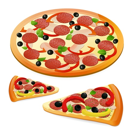italian pizza: Pizza. Vector illustration