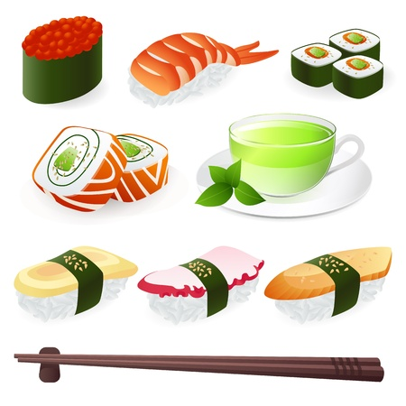 Japanese Cuisine - Sushi Roll. Vector set Vector