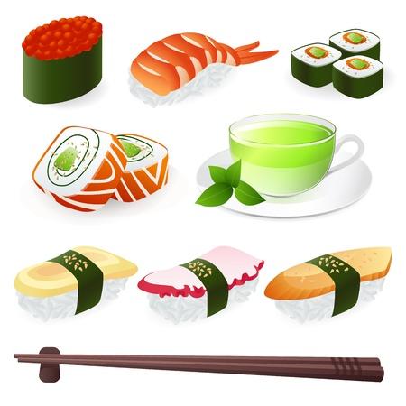 egg roll: Japanese Cuisine - Sushi Roll. Vector set