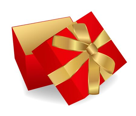 Opened Red Gift Box with golden ribbon. Vector illustration on white background Stock Vector - 12489406