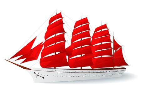 caravelle: Navire aux voiles rouges (caravelle). Vector illustration sur fond blanc
