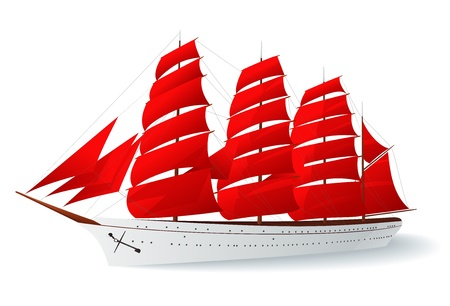 Ship with red sails (caravel). Vector illustration on white background