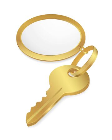 Golden Key with empty tag. Vector illustration on white background Stock Vector - 12747764