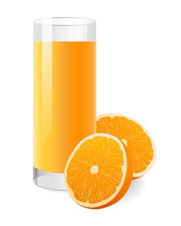 orange juice glass: Succo d'arancia fresco in vetro con la met� di arancia. Illustrazione vettoriale su sfondo bianco