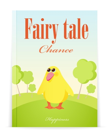 Cover of Fairy tale book. Vector illustration of little duckling in forest Stock Vector - 12747795