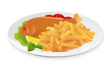 Fish and Chips on a plate. Popular take-away food in the United Kingdom. Vector illustration on white background Vector