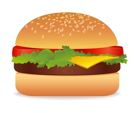 bollos: Hamburger. Ilustraci�n vectorial sobre fondo blanco Vectores
