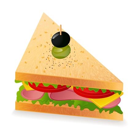 ham: Sandwich. Vector illustratie op een witte achtergrond