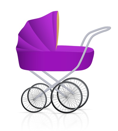 perambulator: Baby buggy. Illustrazione vettoriale su sfondo bianco Vettoriali