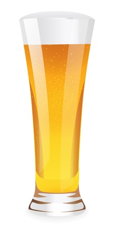 Beer in glass. Vector illustration on white background