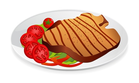 Steak with vegetables on a plate Stock Vector - 12747803