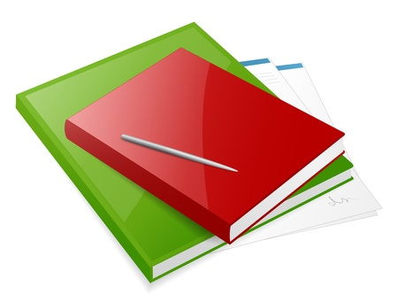 Two colorful books with pen and blanks Vector