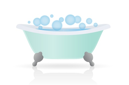 bubble bath: Cartoon Bath. Vector illustration on white background Illustration