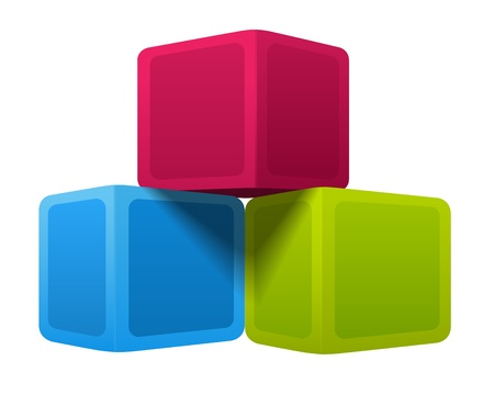 three colors: Colorful cubes. Vector illustration on white background Illustration