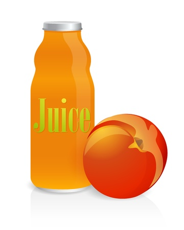 Glass bottle of juice with a peach Stock Vector - 12747805