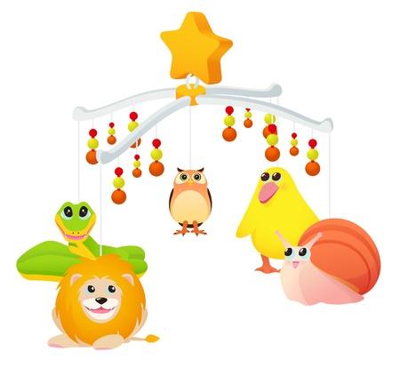 sonaja: Juguete musical con los animales para la cuna Vectores