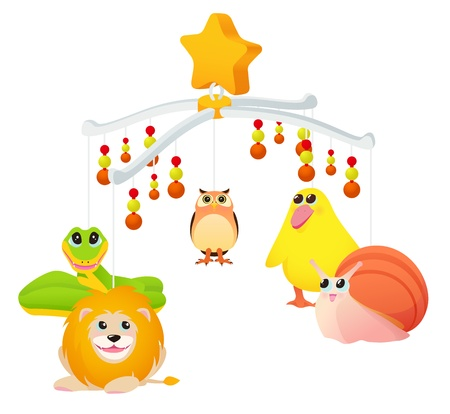 Musical toy with animals for cot