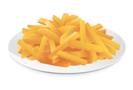 papas: Franc�s fritas en un plato. Ilustraci�n vectorial sobre fondo blanco Vectores