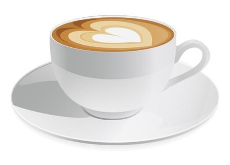 kroes: Kopje cappuccino met hart symbool. Koffie Stock Illustratie