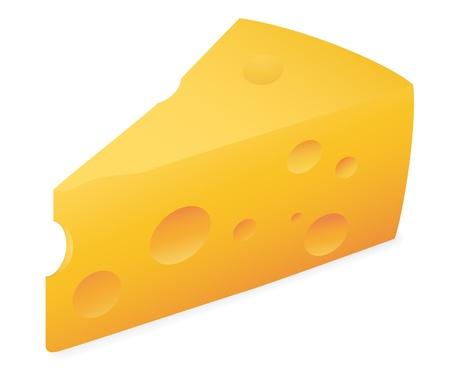 coagulation: Slab of cheese. Vector illustration on white background