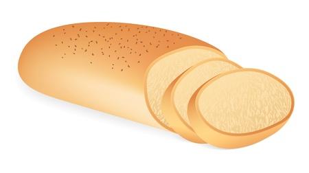 bread loaf: Un pezzo di pane. Illustrazione vettoriale su sfondo bianco
