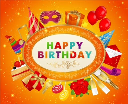Conceptual Birthday card (with set of birthday elements) Vector
