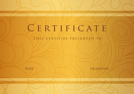 certificado: Certificado de finalizaci�n plantilla de Vector