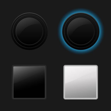 Push button  Keyboard black buttons on black background Vector