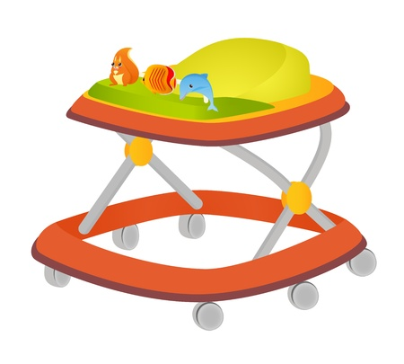 walker: Baby walker with toys  Vector illustration on white background