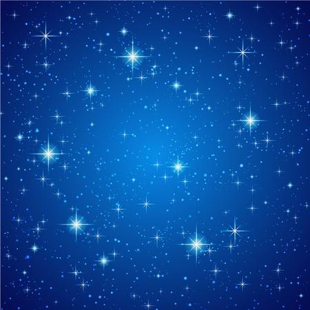 melkachtig: Blauwe abstracte achtergrond. Nachtelijke hemel met sterren. Vector illustratie Stock Illustratie