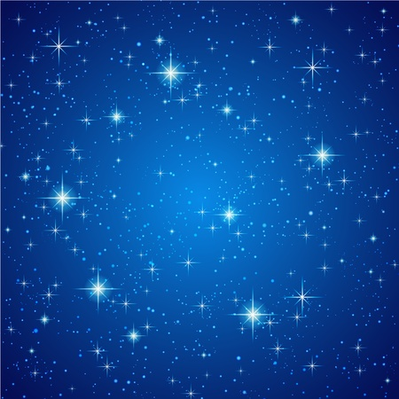 starlight: Blue Abstract background. Night sky with stars. Vector illustration