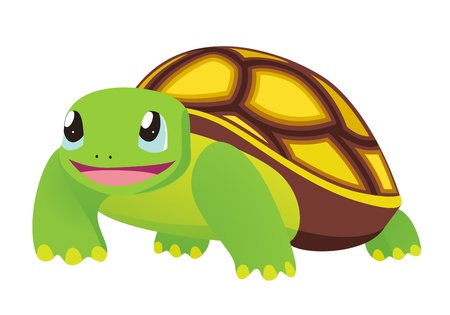 Cartoon Turtle. Vector illustration on white background Vector