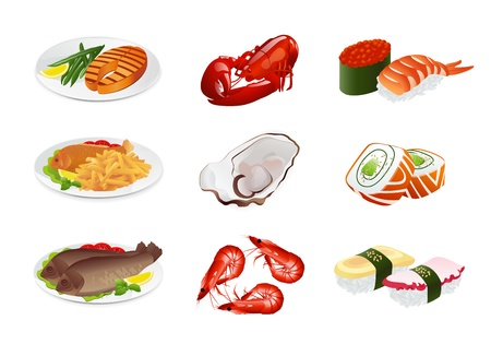 fried shrimp: Fish dishes (vector set). Illustration on white background