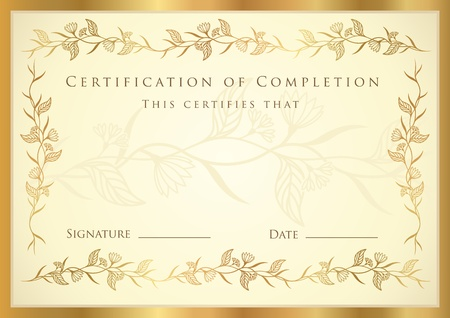 graduates: Certificate of completion template. Diploma Illustration