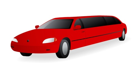 Red Limousine. Vector illustration on white background Vector
