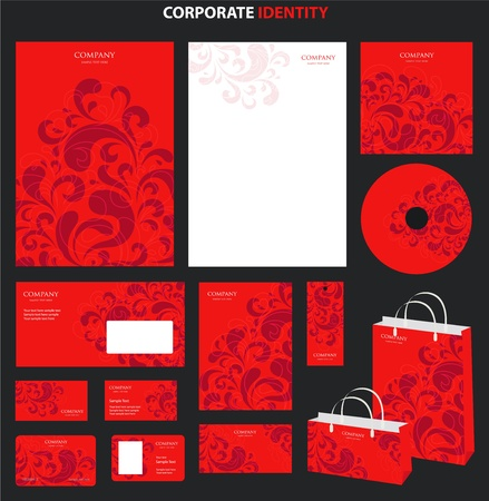 Red Business style templates with abstract pattern. Vector Vector